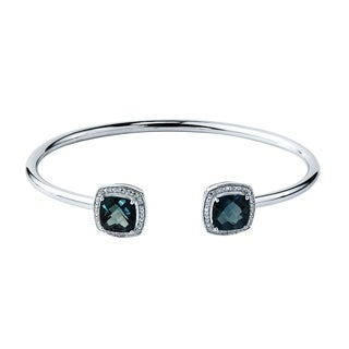 Stackable 5ct Cushion-Cut London Blue Topaz Open Bangle Bracelet with Diamond Accents by Auriya in Gold over Silver