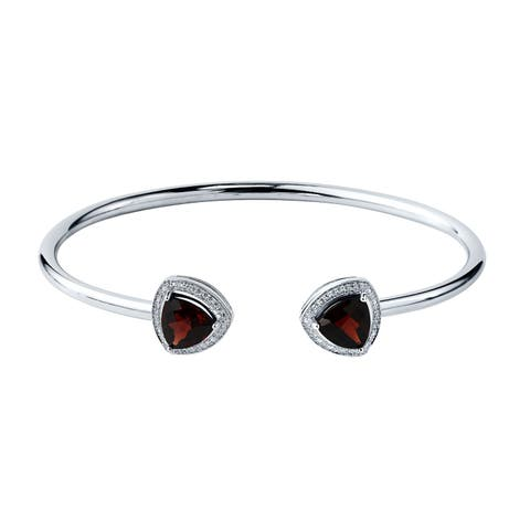Stackable 3 3/4ct Trillion-Cut Red Garnet Open Bangle Bracelet with Diamond Accents by Auriya in Gold over Silver