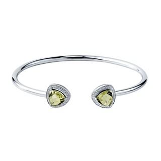 Auriya Gold over Silver 2 3/4ct. Trillion-Cut Lemon Green Quartz and Halo Diamond Stackable Cuff Bangle Bracelet