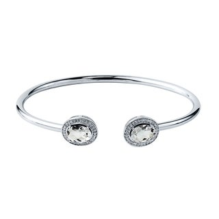 Auriya Gold over Silver 2 1/2ct. Oval-Cut White Topaz and Halo Diamond Stackable Cuff Bangle Bracelet