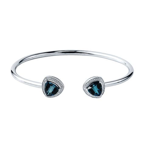 Auriya 3 3/4ct Trillion-Cut London Blue Topaz Gold over Silver Bangle Bracelet with Diamond Accents