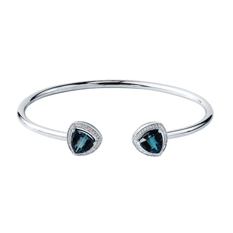 Auriya 3 3/4ct Trillion-Cut London Blue Topaz Open Bangle Bracelet with Diamond Accents Gold over Silver