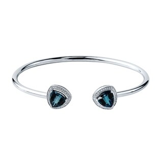 Auriya Gold over Silver 3 3/4ct. Trillion-Cut London Blue Topaz and Halo Diamond Stackable Cuff Bangle Bracelet