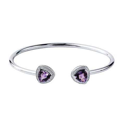 Stackable 3ct Trillion-Cut Purple Amethyst Open Bangle Bracelet with Diamond Accents by Auriya in Gold over Silver