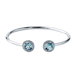 Stackable 4ct Round Sky-Blue Topaz Open Bangle Bracelet with Diamond Accents by Auriya in Gold over Silver
