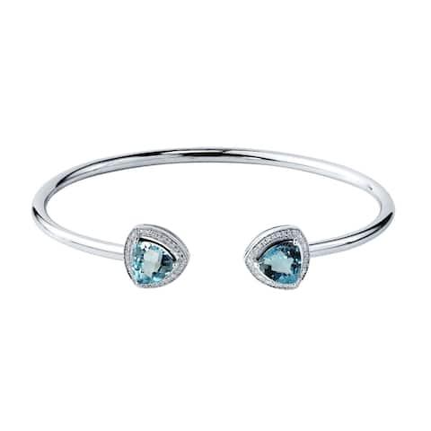 Auriya 4ct Trillion-Cut Sky Blue Topaz Open Bangle Bracelet with Diamond Accents Gold over Silver
