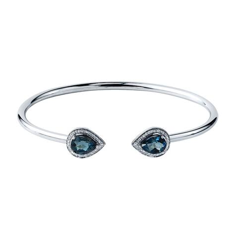 Auriya 2 1/2ct Pear-cut London Blue Topaz Gold over Silver Bangle Bracelet with Diamond Accents