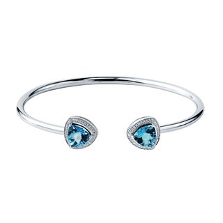 Auriya Gold over Silver 4ct. Trillion-Cut Swiss Blue Topaz and Halo Diamond Stackable Cuff Bangle Bracelet