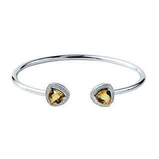 Auriya Gold over Silver 2 3/4ct. Trillion-Cut Citrine and Halo Diamond Stackable Cuff Bangle Bracelet