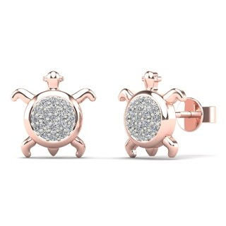 AALILLY 10k Rose Gold 1/8ct TDW Diamond Turtle Stud Earrings (H-I, I1-I2)