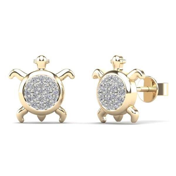 29fe81da2 AALILLY 14k Yellow Gold 1/8ct TDW Diamond Turtle Stud Earrings (H-I, I1