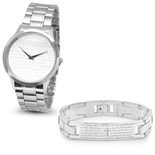 Steeltime Mens Stainless Steel Watch With Lords Prayer