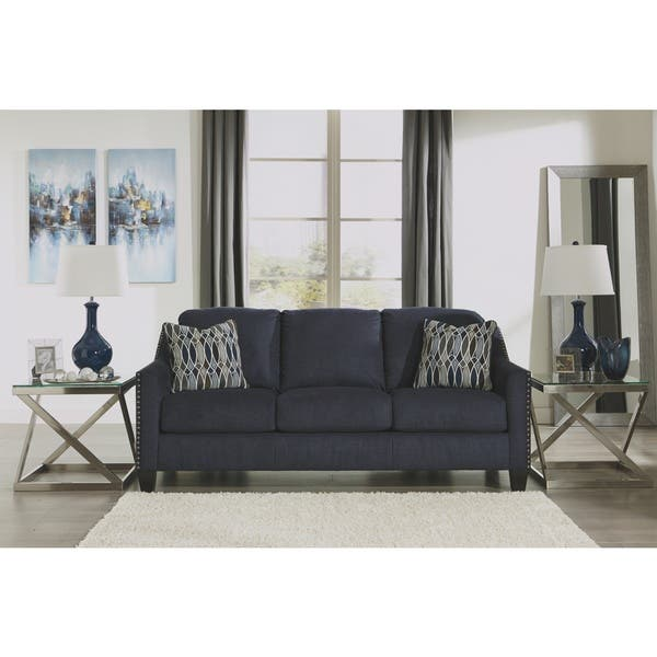 Superb Shop Ashley Benchcraft Creeal Heights Blue Upholstered Queen Pabps2019 Chair Design Images Pabps2019Com