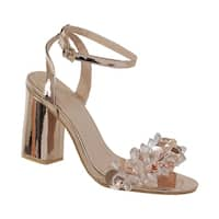 YOKI-ALAINA-09 women's ankle strap single sole sandal with crystals