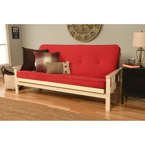 Somette Monterey Futon Set In Antique White Finish With Velvet Mattress