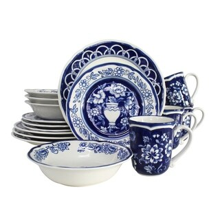 Euro Ceramica Blue Garden 16 Piece Hand-painted Dinnerware Set (Service for 4)