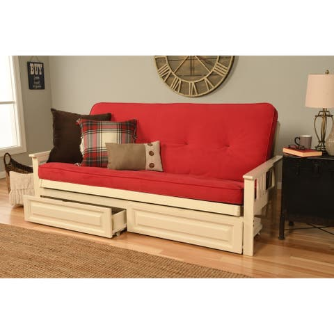 Porch & Den Kern Antique White Finish Futon with Velvet Mattress and Storage Drawers