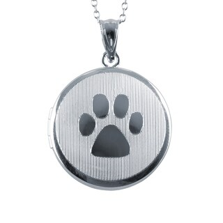 Dog Paw Round Locket Pendant, Sterling Silver Photo Charm with Necklace Chain