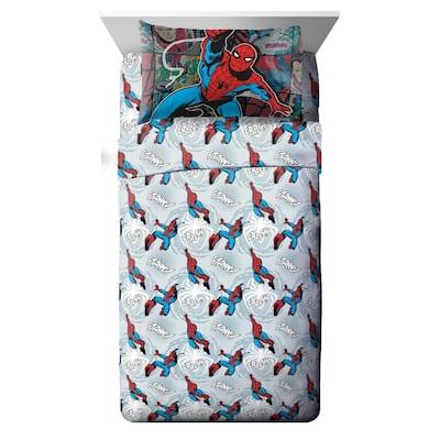 Marvel Spiderman Jump Kick 3 Piece Twin Sheet Set