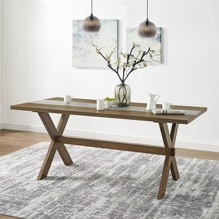 Avenue Greene Rutherford Dining Table with Faux Concrete Center - Brown