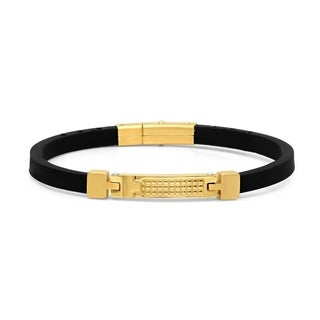 Minoxia Men's Black Leather Bracelet with Gold Tone Stainless Steel