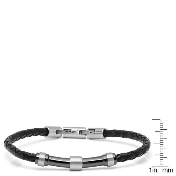 023e6a57bcb68 Shop Minoxia Men's Black Braided Leather Bracelet with Stainless ...