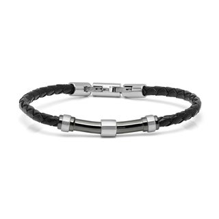 Minoxia Men's Black Braided Leather Bracelet with Stainless Steel Bar Accent