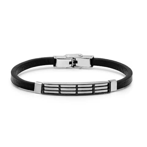 Minoxia Men's Smooth Black Leather Bracelet with Stainless Steel Cut Out Accents