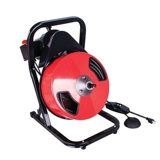 THEWORKS 50 Ft. Manual Feed Compact Electric Drain Cleaner Machine - Black/Red
