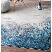 nuLOOM Blue/ Grey Vintage Inspired Abstract Fancy Vibrant Area Rug - 9' x 12'