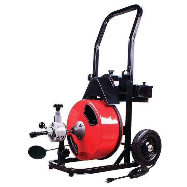 THEWORKS 50 Ft. Power Feed Electric Drain Cleaner Machine - Black/Red