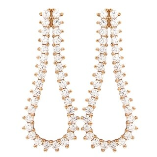 Luxiro Sterling Silver Rose Gold Finish Cubic Zirconia Open Teardrop Post Earrings - White