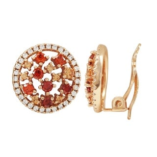 Luxiro Sterling Silver Rose Gold Finish Champagne Cubic Zirconia Combination Women's Clip-on Earrings - Orange