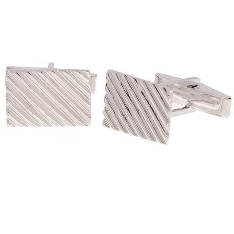 Mondevio Sterling Silver Diagonal Ribbed Cuff Links