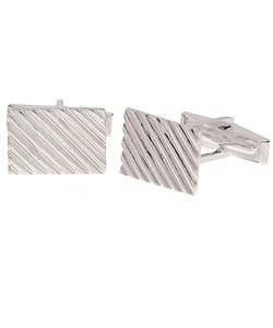 Mondevio Sterling Silver Diagonal Ribbed Cuff Links