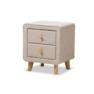 Urban Designs Jonesy Mid-Century Linen Upholstered 2-Drawer Nightstand