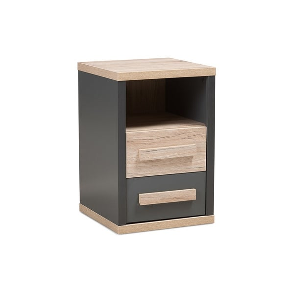 Urban Designs Dark Grey and Light Brown Two-Tone 2-Drawer Nightstand