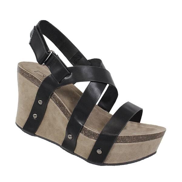 b7295085f9b9 Shop YOKI-HESTRY-32 women s crisscross strap footbed wedge - Free ...