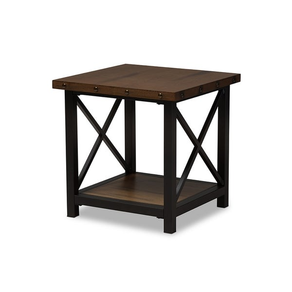 Urban Designs Herzen Black Textured Finished Metal Distressed Wood End Table