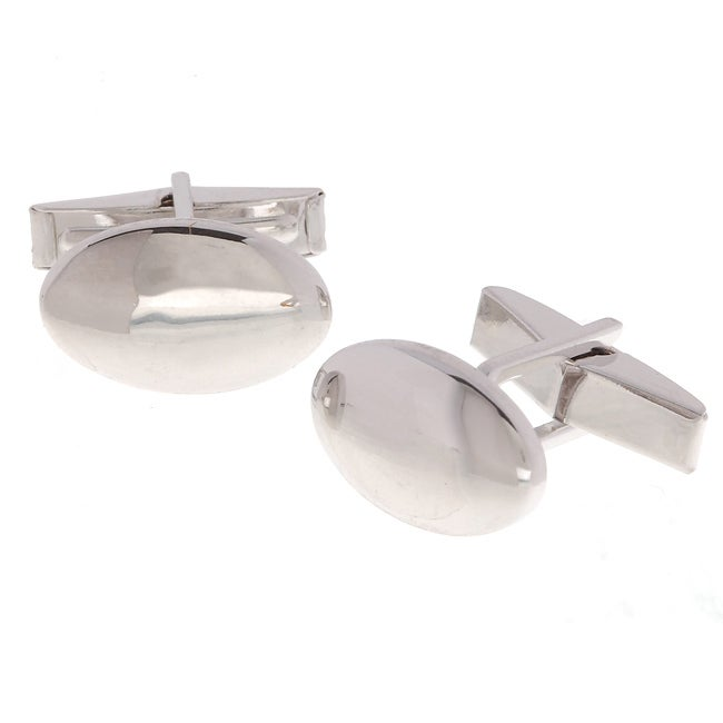 Mondevio Sterling Silver Oval Cuff Links