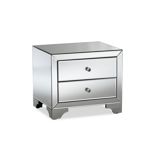 Urban Designs Farrah Hollywood Glamour Style Mirrored 2-Drawer Nightstand