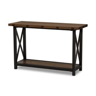 Urban Designs Herzen Black Textured Finished Metal Distressed Wood Console Table
