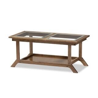 "Urban Designs Cayla Modern ""Walnut"" Brown Wood Glass-Top Coffee Table"