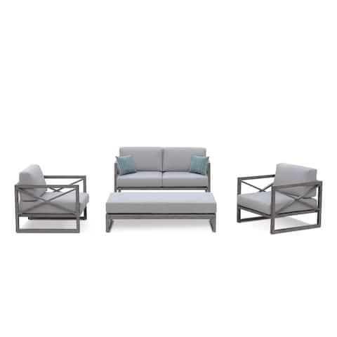 OVE Decors Galia 4-piece Grey Olefin Cushions and Aluminum Frame Outdoor Conversation Set