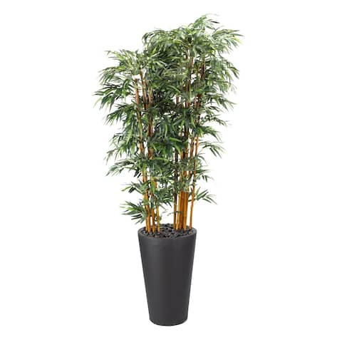 D&W Silks 9-feet Bamboo Tree in Tall Round Black Planter