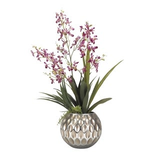 D&W Silks Purple Baby Dendrobium Orchids in Champagne Glass Bowl
