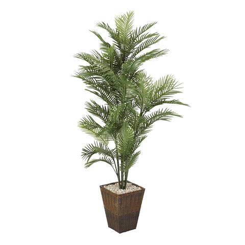 D&W Silks 6-feet Robellini Palm in Square Basket