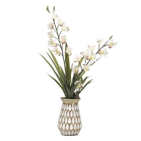 D&W Silks Cream Cymbidium Orchids in White/ Gold Glass Vase