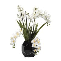 D&W Silks Cream Vanda and Dendrobium Orchids in Black Glass Bowl