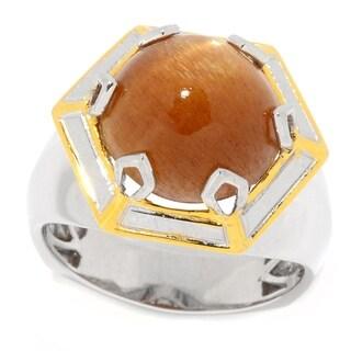 Michael Valitutti Palladium Silver Golden Sunstone Polished Hexagon Men's Ring